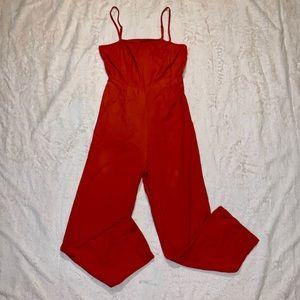 ASOS Burnt Orange Linen Blend Jump Suit Size 6